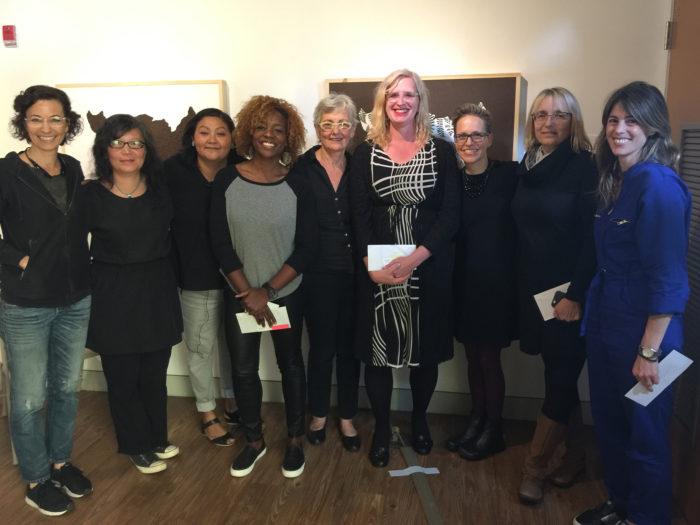 Artists in Photo: L-R Now Be Here Collaborator Linn Meyers, Mei Mei Chang, Anna Tsouhlarakis, Nekisha Durrett, Judy Byron, Rahne Alexander, Fabiola Alvarez, Sue Wribican and Roxana Alger Geffen
