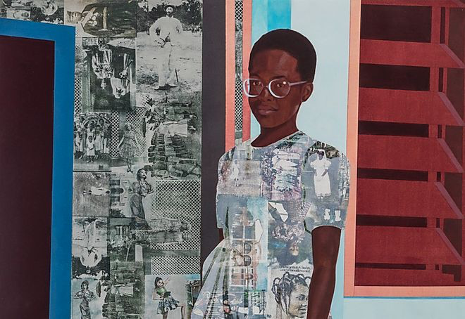 "© Njideka Akunyili, ""The Beautyful Ones"" Series #1c,2014, Acrylic, transfers and colored pencil on paper 5 ft.× 3.5 ft."
