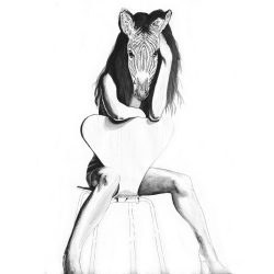 Katerina-Pravda-Art-Original-Dont-Strip-Me-Of-My-Stripes-ink-on-paper-square